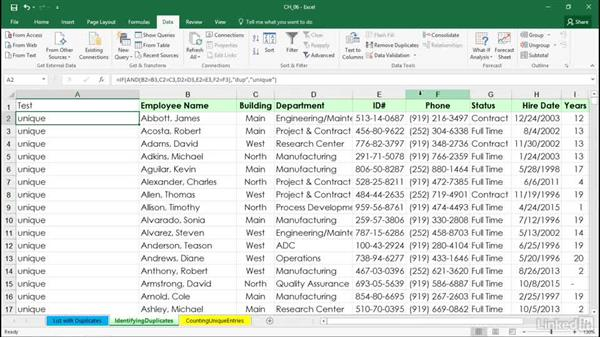 Using a specialized array formula to identify data that's been duplicated: Excel 2016: Managing and Analyzing Data