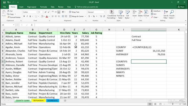 Using SUMIF, COUNTIF, and related functions for quick data analysis: Excel 2016: Managing and Analyzing Data