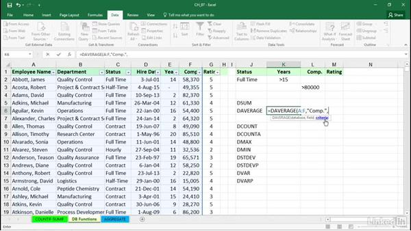 Using database functions including DSUM, DAVERAGE, DMAX: Excel 2016: Managing and Analyzing Data
