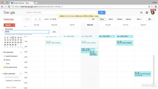 Create an event with Quick Add: Google Calendar Advanced Tips and Tricks
