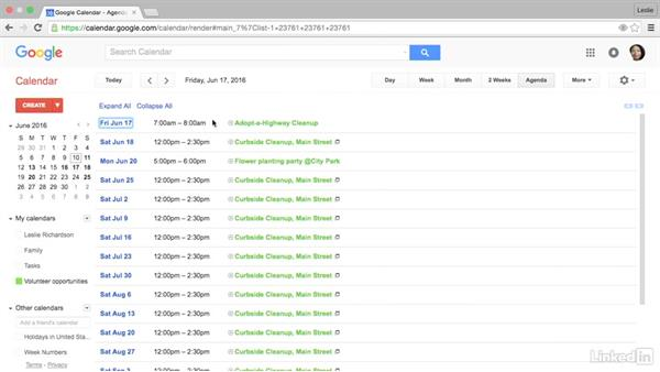 Use agenda view to see an overview of events: Google Calendar Advanced Tips and Tricks