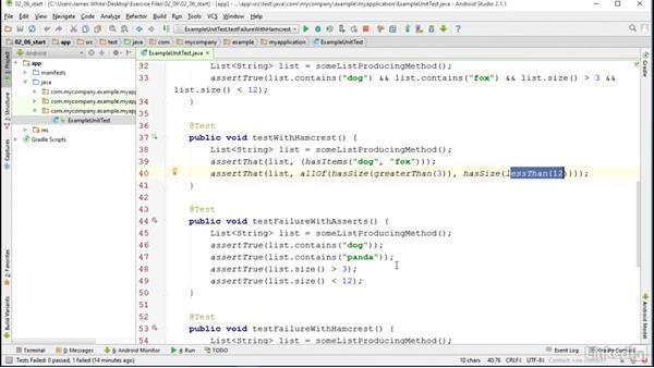 Hamcrest: Android SDK Unit Testing