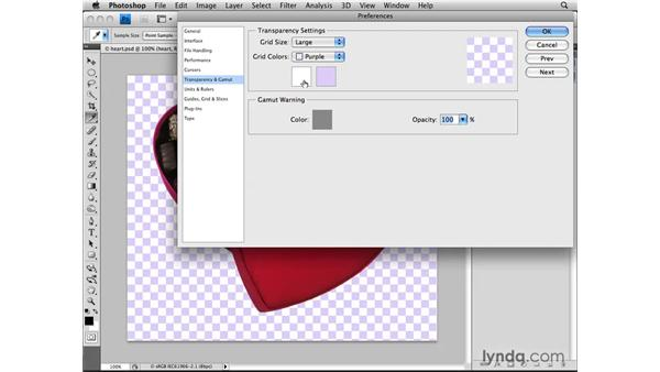 Setting transparency preferences: Photoshop CS4: Layers in Depth