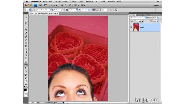 Filling a path with text: Photoshop CS4: Layers in Depth