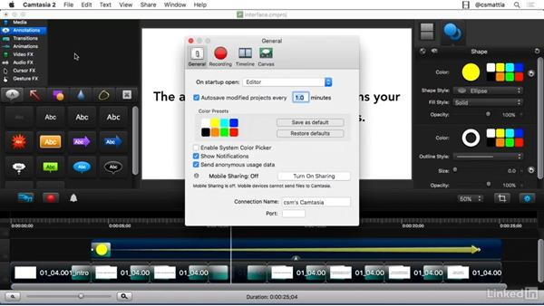 Understanding the interface: Camtasia 2 for Mac Essential Training