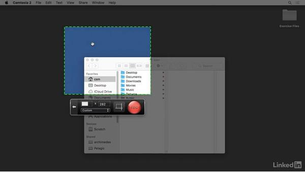 Creating a custom recording region: Camtasia 2 for Mac Essential Training