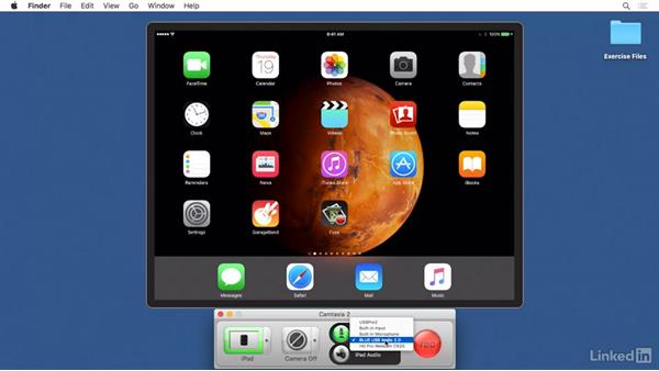 Capturing mobile devices: Camtasia 2 for Mac Essential Training