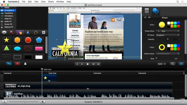 Understanding the editing workflow: Camtasia 2 for Mac Essential Training