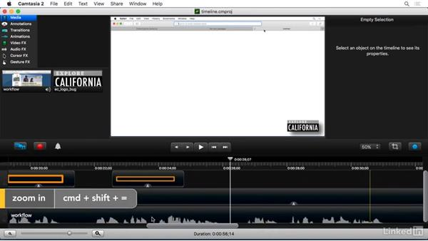 Timeline overview: Camtasia 2 for Mac Essential Training