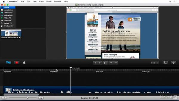 Basic timeline editing: Camtasia 2 for Mac Essential Training