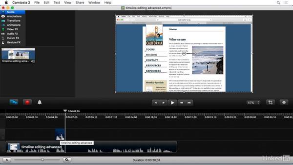Advanced timeline editing: Camtasia 2 for Mac Essential Training