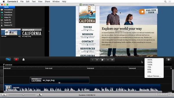 Canvas basics: Camtasia 2 for Mac Essential Training