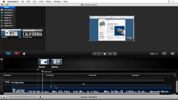 Using markers: Camtasia 2 for Mac Essential Training