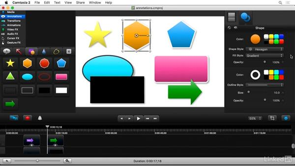 Drawing attention with annotations: Camtasia 2 for Mac Essential Training