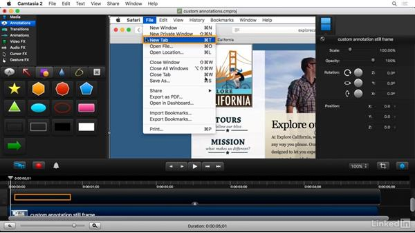 Creating custom branded annotations: Camtasia 2 for Mac Essential Training