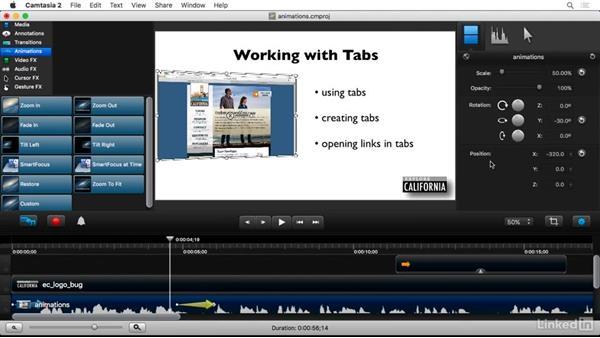 Creating basic animations: Camtasia 2 for Mac Essential Training