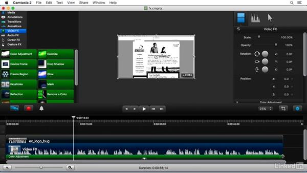Understanding Video FX: Camtasia 2 for Mac Essential Training