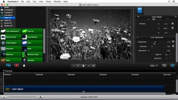 Using the Color Adjustment FX: Camtasia 2 for Mac Essential Training