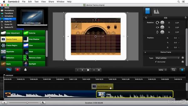 Using the Device Frame FX: Camtasia 2 for Mac Essential Training