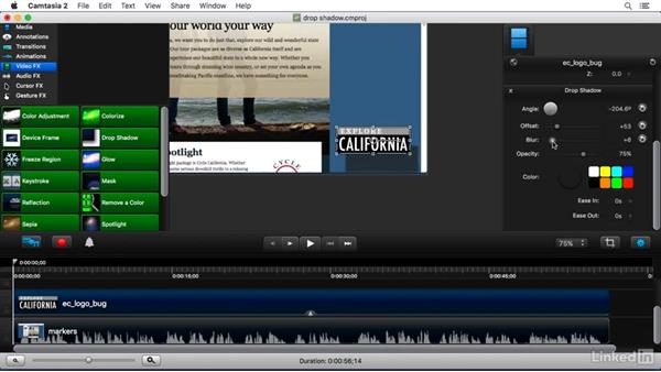 Using the Drop Shadow FX: Camtasia 2 for Mac Essential Training