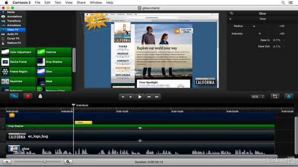 Using the Glow FX: Camtasia 2 for Mac Essential Training