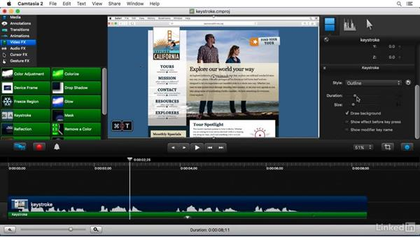 Using the Keystroke FX: Camtasia 2 for Mac Essential Training