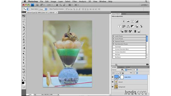 Adding color with color fill layers: Photoshop CS4: Layers in Depth