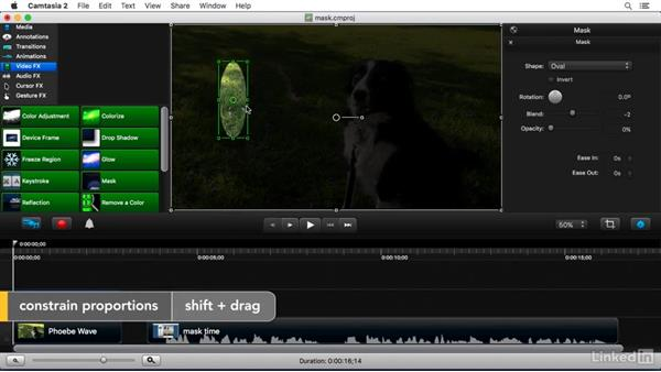 Using the Mask FX: Camtasia 2 for Mac Essential Training