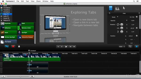 Using the Reflection FX: Camtasia 2 for Mac Essential Training