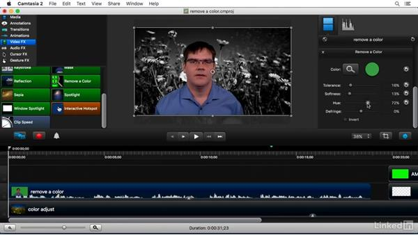 Using the Remove a Color FX: Camtasia 2 for Mac Essential Training