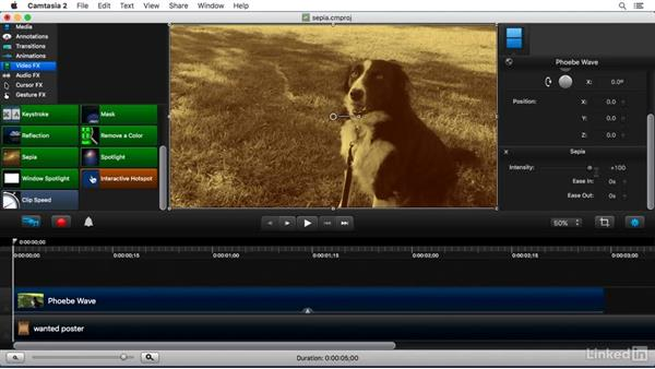 Using the Sepia FX: Camtasia 2 for Mac Essential Training