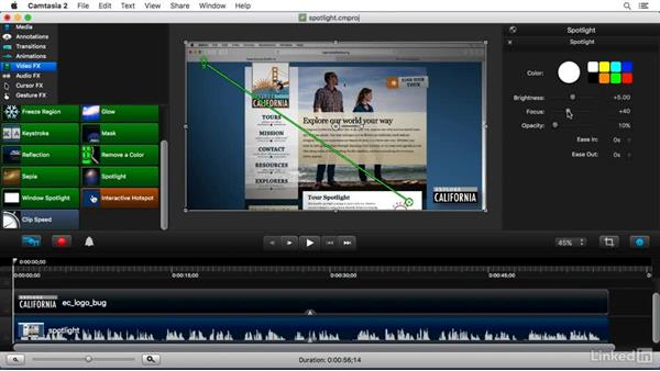Using the Spotlight FX: Camtasia 2 for Mac Essential Training