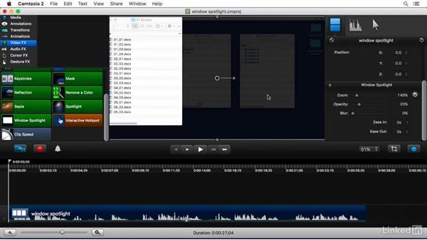 Using the Window Spotlight FX: Camtasia 2 for Mac Essential Training