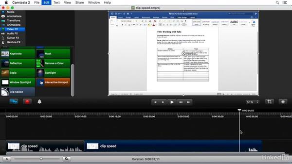 Using the Clip Speed FX: Camtasia 2 for Mac Essential Training