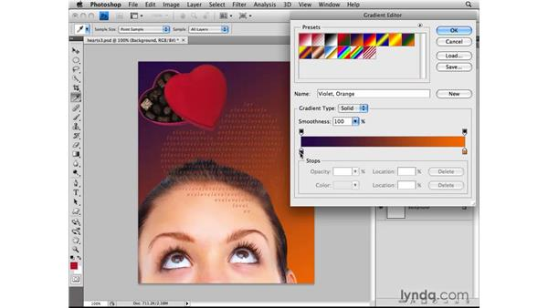 Adding gradients with gradient layers: Photoshop CS4: Layers in Depth