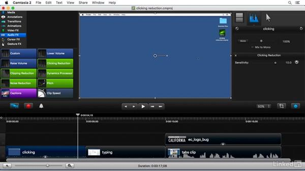 Using the Clicking Reduction FX: Camtasia 2 for Mac Essential Training