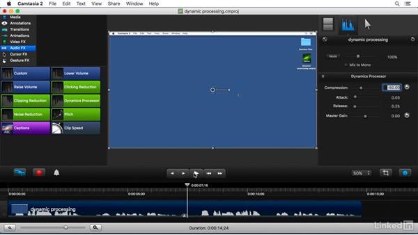 Using the Dynamic Processor FX: Camtasia 2 for Mac Essential Training