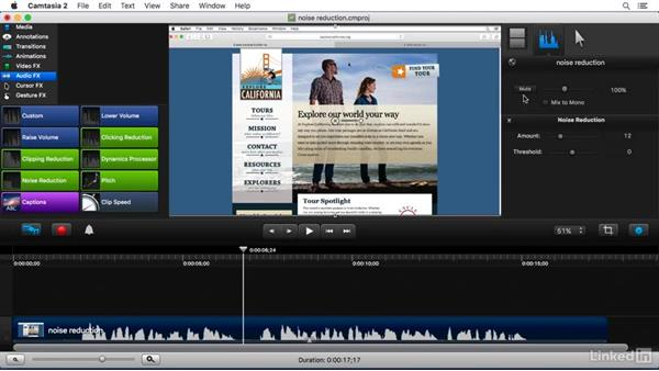 Using the Noise Reduction FX: Camtasia 2 for Mac Essential Training