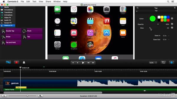 Using Gesture FX: Camtasia 2 for Mac Essential Training