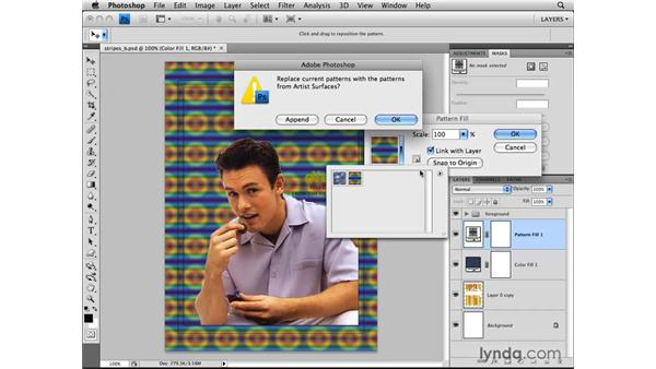 Applying patterns with pattern layers: Photoshop CS4: Layers in Depth