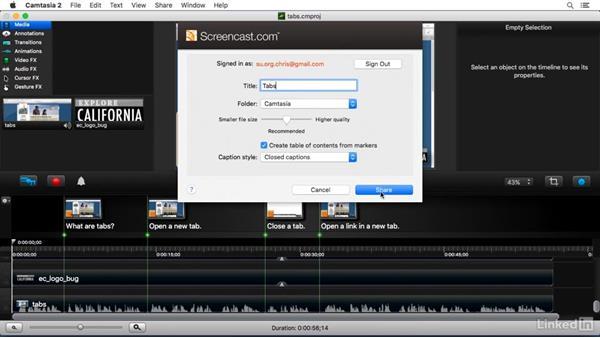 Sharing to Screencast.com: Camtasia 2 for Mac Essential Training