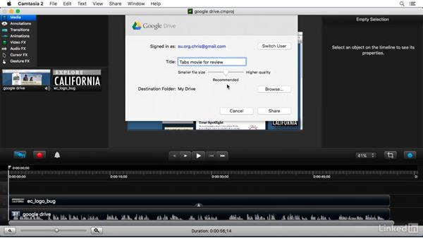 Sharing to Google Drive: Camtasia 2 for Mac Essential Training