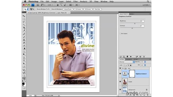 Hiding adjustments with layer masks: Photoshop CS4: Layers in Depth