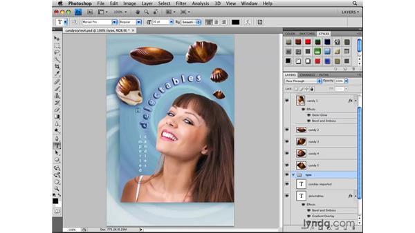 Applying a style from the Styles panel: Photoshop CS4: Layers in Depth