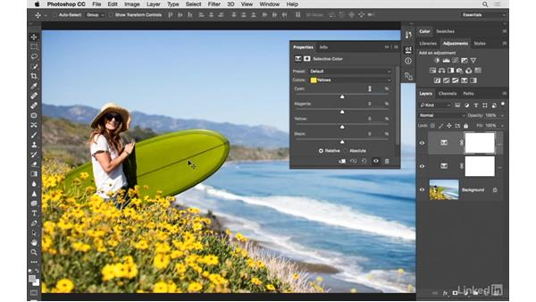 Fine-tuning a surfboard color: Photoshop CC: Creative Color for Photographers