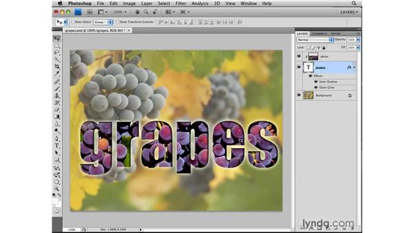 Filling type and shapes with photos: Photoshop CS4: Layers in Depth