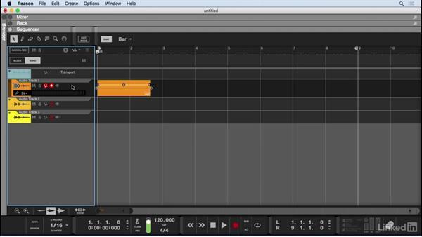 Record audio tracks: Learn Reason 9: The Basics