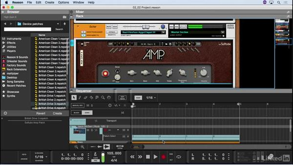 Record with the virtual guitar and bass amplifiers: Learn Reason 9: The Basics