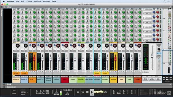 Set levels and stereo pans: Learn Reason 9: The Basics