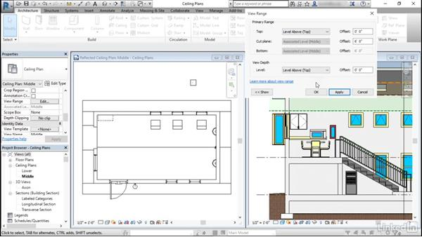 View range in reflected ceiling plans: Revit: View Range